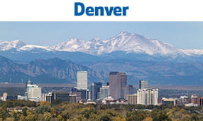 Denver, CO - city with mountains in the background